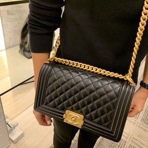 CHANEL Bags - Chanel Black Boy Bag Caviar, Diamond Quilting